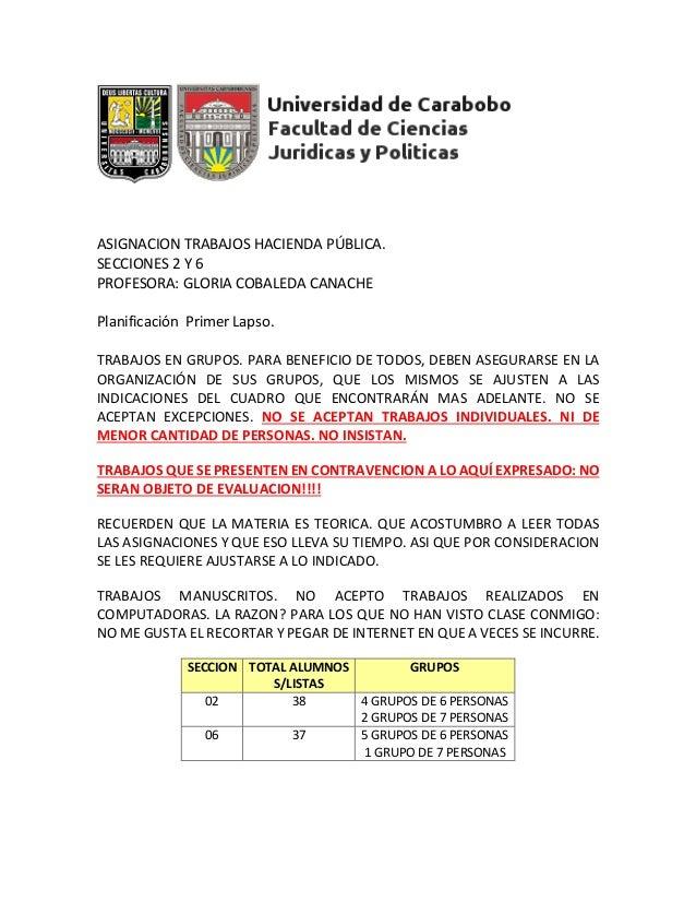 ASIGNACION TRABAJOS HACIENDA PÚBLICA. SECCIONES 2 Y 6 PROFESORA: GLORIA COBALEDA CANACHE Planificación Primer Lapso. TRABA...