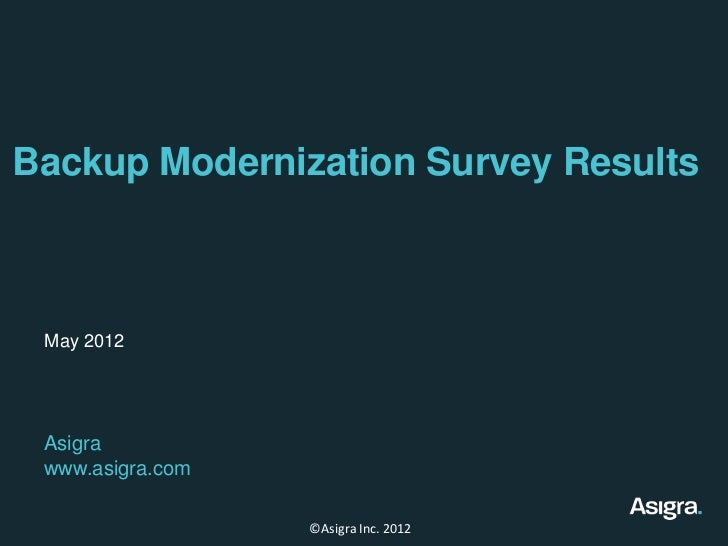 Backup Modernization Survey Results May 2012 Asigra www.asigra.com                  ©Asigra Inc. 2012