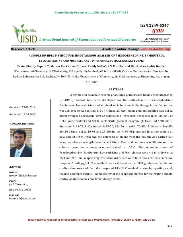 Hanimi Reddy Bapatu et al., IJSID, 2012, 2 (3), 377-385                                                                   ...