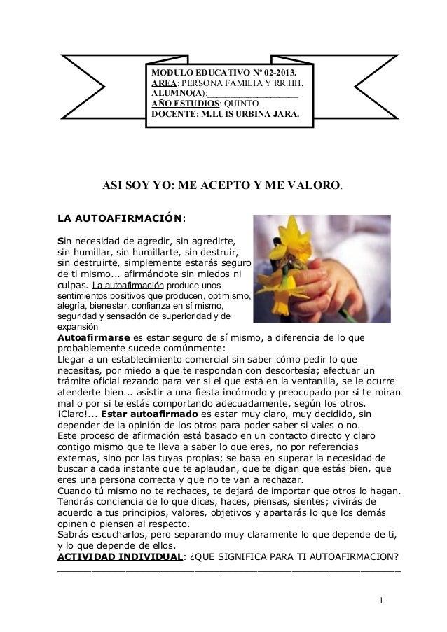 MODULO EDUCATIVO Nº 02-2013.                     AREA: PERSONA FAMILIA Y RR.HH.                     ALUMNO(A):____________...