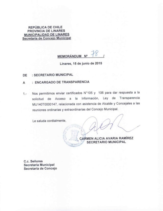 REPÚBLICA DE CHILE PROVINCIA DE LINARES MUNICIPALIDAD DE LINARES  Secretaría de Conceio Municipal  ,  ¡j  MEMORÁNDUM N° 'I...