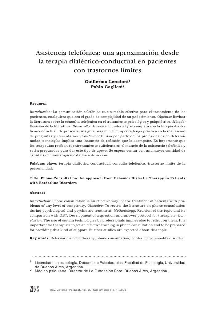 Asistencia Telefonica Una Aproximacion Desde La Terapia Dialectico Conductual En Pacientes Borderline