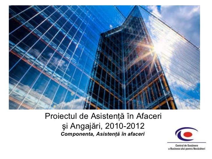 Proiectul  de  Asistenţă în Afaceri şi Angajări,  2010-201 2 Componenta, Asistenţă în afaceri