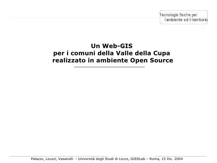Un Web-GIS per i comuni della Valle della Cupa Realizzato in Ambiente Open Source