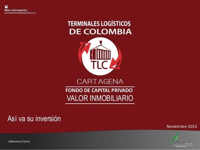 1  Fondo Inmobiliario  FONDO DE CAPITAL PRIVADO  VALOR INMOBILIARIO Así va su inversión Noviembre 2013  Sabemos Cómo  25 A...