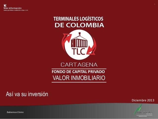 1  Fondo Inmobiliario  FONDO DE CAPITAL PRIVADO  VALOR INMOBILIARIO Así va su inversión Diciembre 2013  Sabemos Cómo  25 A...