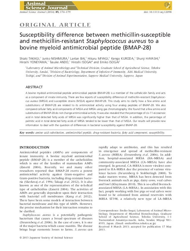 ORIGINAL ART ICLE Susceptibility difference between methicillin-susceptible and methicillin-resistant Staphylococcus aureu...