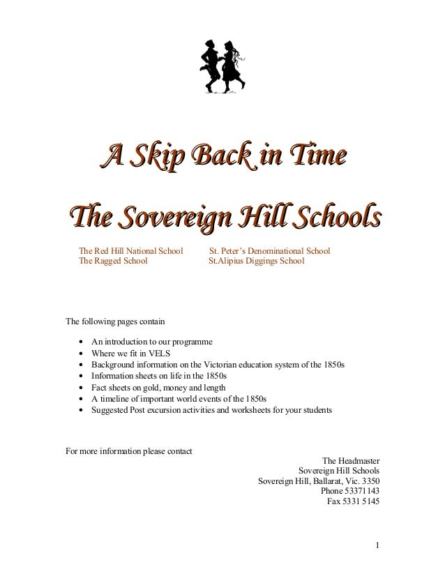 A Skip Back in TimeA Skip Back in Time The Sovereign Hill SchoolsThe Sovereign Hill Schools The Red Hill National School S...