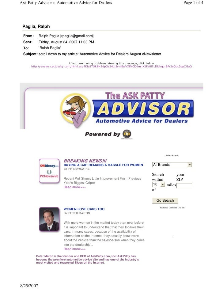 Ask Patty Advisor :: Automotive Advice for Dealers                                                                       P...