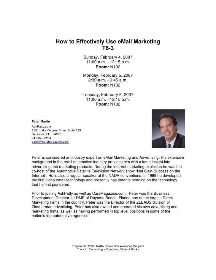 How to Effectively Use eMail Marketing                                 T6-3                                    Sunday, Feb...