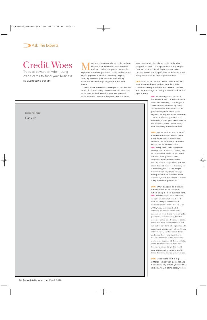 Ask the Expert: Credit Woes (Dance Retailer News)