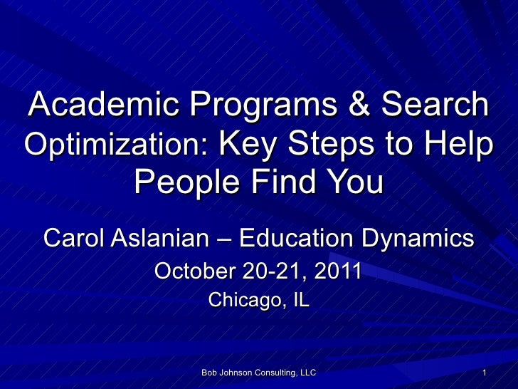 Academic Programs & Search  Optimization:  Key Steps to Help People Find You Carol Aslanian – Education Dynamics October 2...