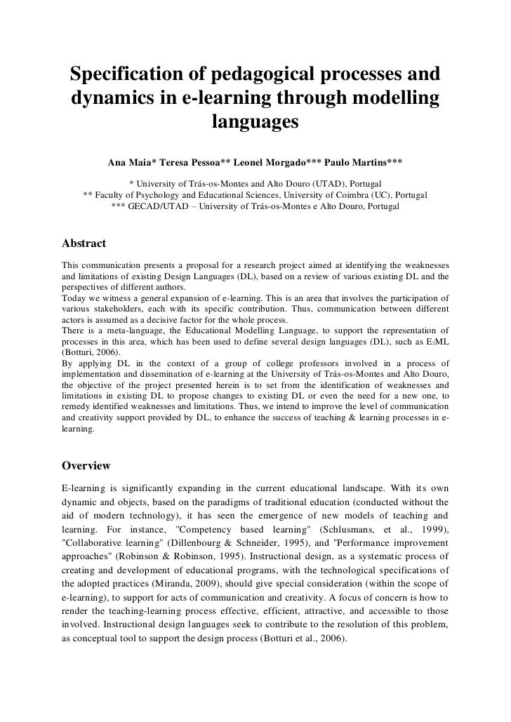 Specification of pedagogical processes and  dynamics in e-learning through modelling                   languages          ...