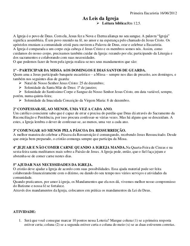 Primeira Eucaristia 16/06/2012                                              As Leis da Igreja                             ...