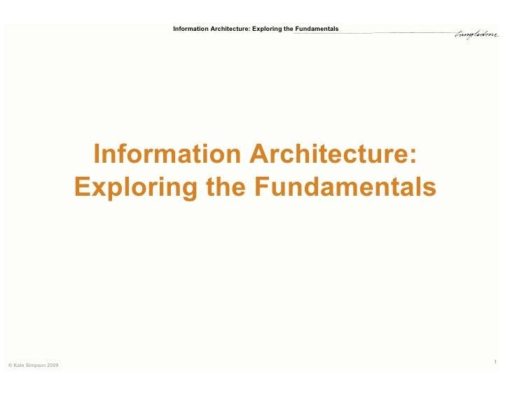 Fundamentals of Information Architecture Workshop