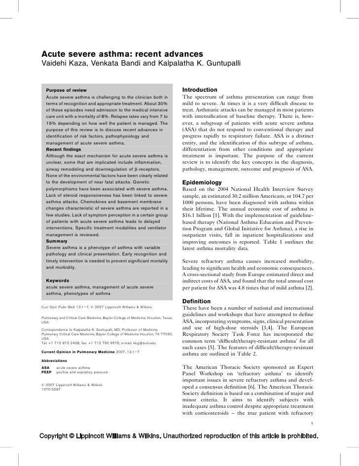 Acute severe asthma: recent advancesVaidehi Kaza, Venkata Bandi and Kalpalatha K. Guntupalli  Purpose of review           ...
