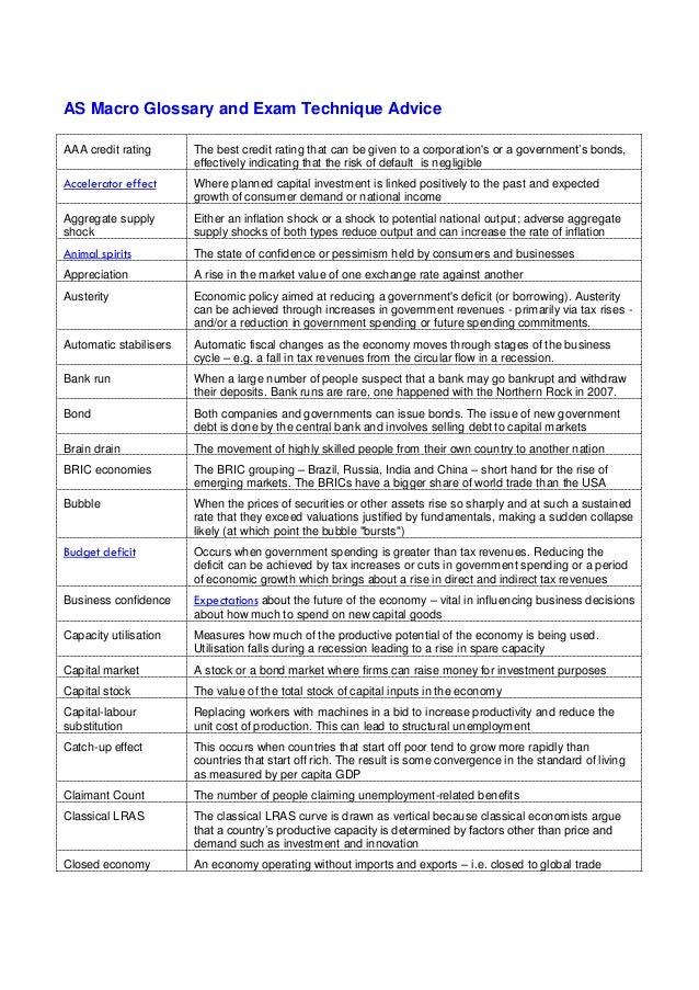 AS Macro Key Term Glossary and Exam Technique Advice