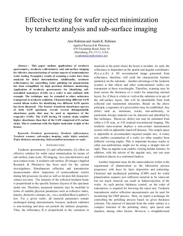 Effective testing for wafer reject minimization by terahertz analysis and sub-surface imaging Anis Rahman and Aunik K. Rah...
