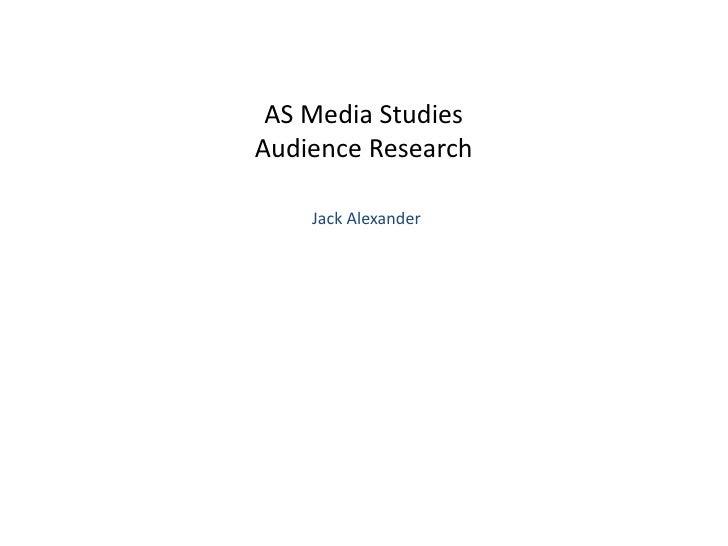 As media studies audience research 1