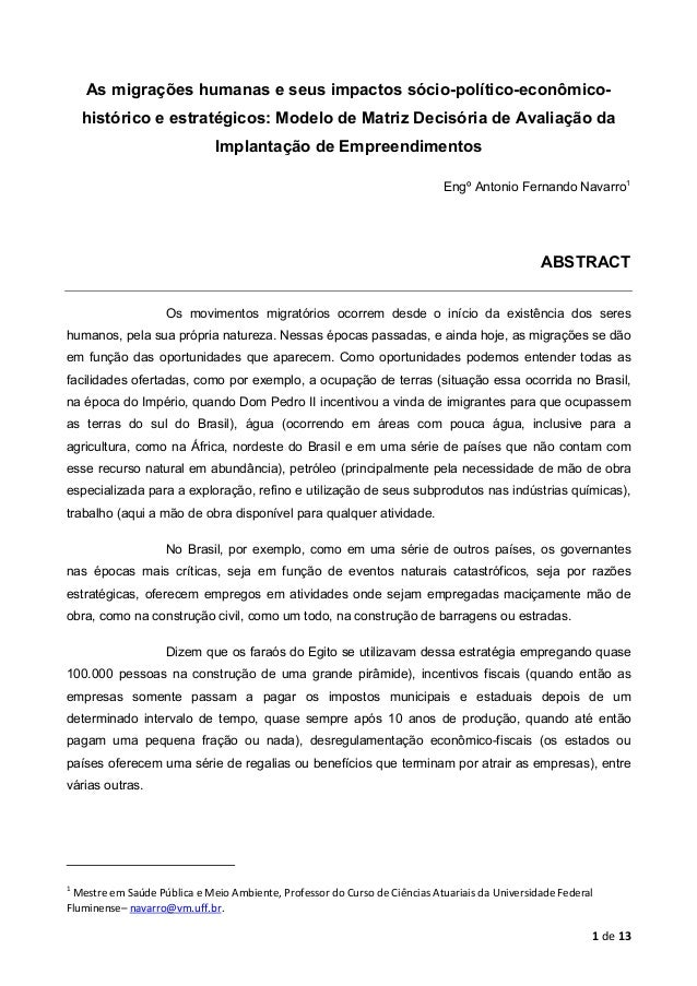 1 de 13 As migrações humanas e seus impactos sócio-político-econômico- histórico e estratégicos: Modelo de Matriz Decisóri...