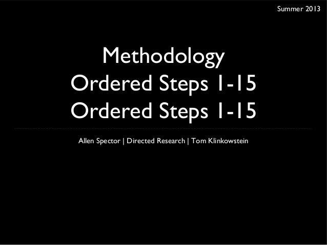Methodology - Ordered List 1-15 + 3 ideas