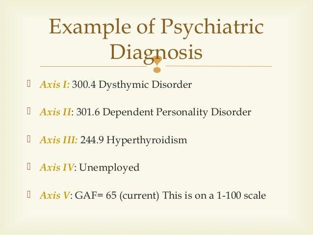 Axis i 300 4 dysthymic disorder axis ii 301 6