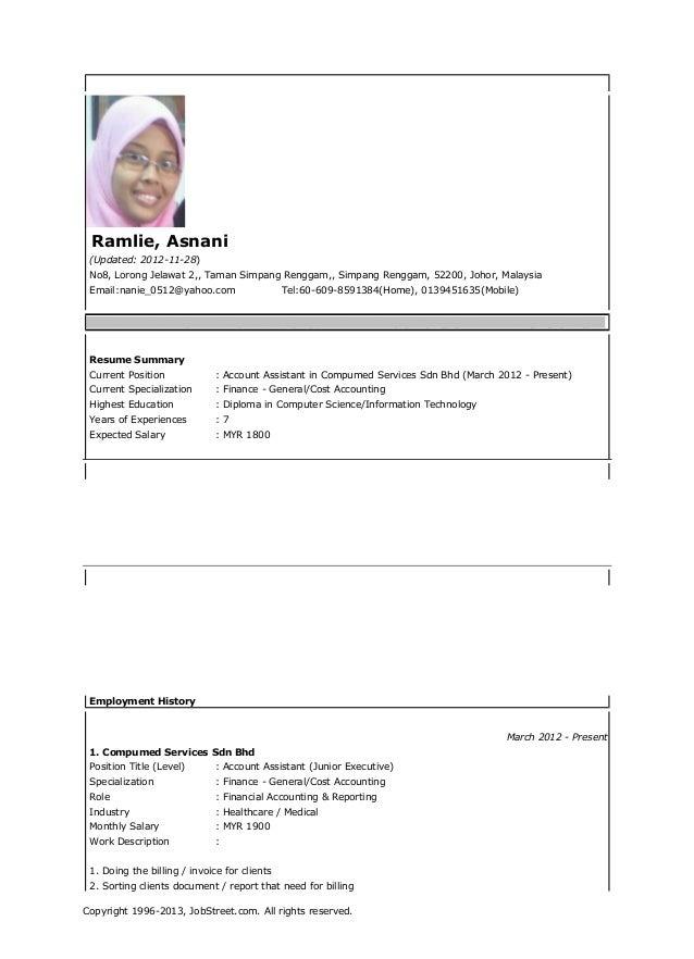 Ramlie, Asnani (Updated: 2012-11-28) No8, Lorong Jelawat 2,, Taman Simpang Renggam,, Simpang Renggam, 52200, Johor, Malays...
