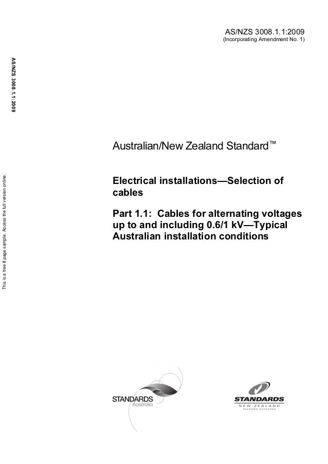 As nzs 3008.1.1 2009 electrical installations - selection of cables cables for alternating voltages up to and