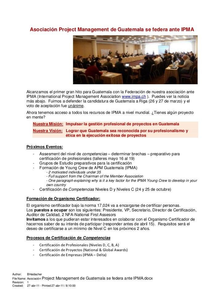 AsociacióN Project Management De Guatemala Se Federa Ante Ipma