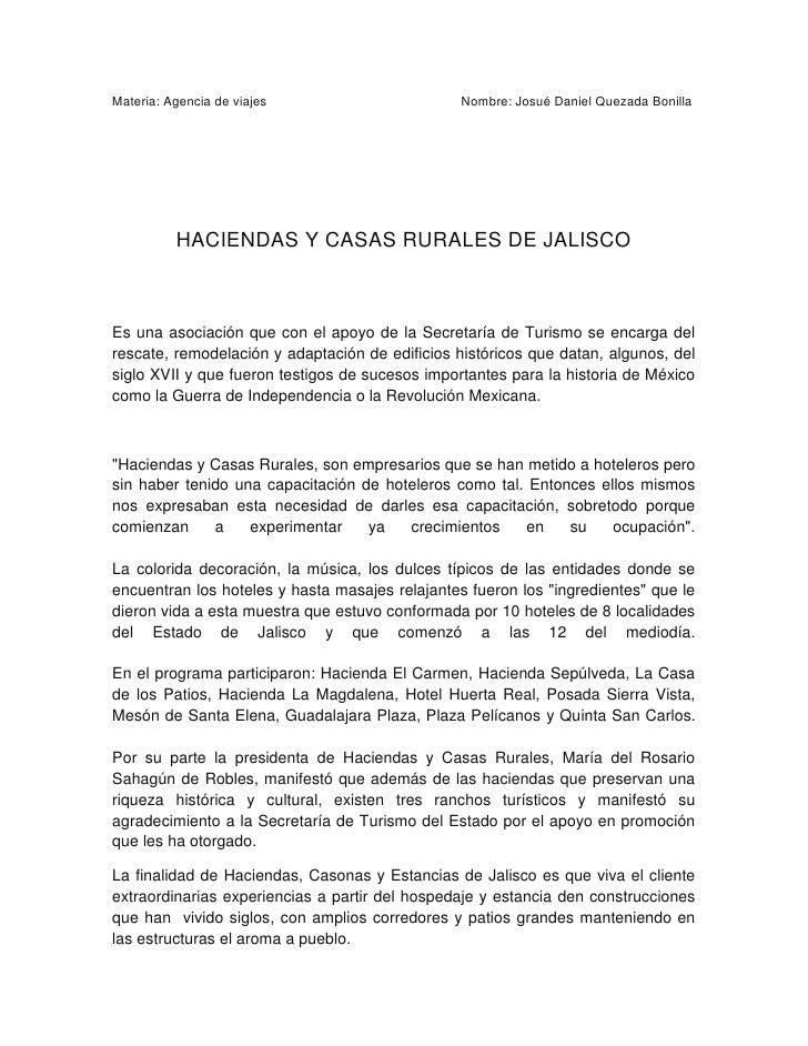 Materia: Agencia de viajes                       Nombre: Josué Daniel Quezada Bonilla          HACIENDAS Y CASAS RURALES D...