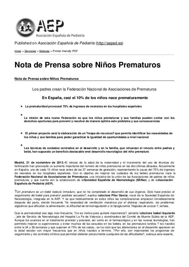 Published on Asociación Española de Pediatría (http://aeped.es) Inicio > Servicios > Noticias > Printer-friendly PDF  Nota...