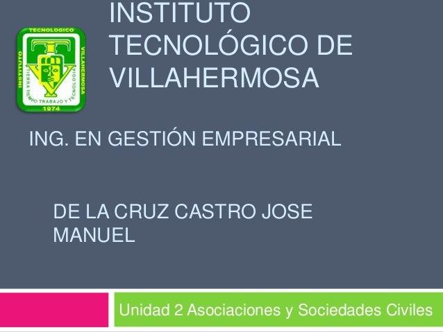 INSTITUTO      TECNOLÓGICO DE      VILLAHERMOSAING. EN GESTIÓN EMPRESARIAL  DE LA CRUZ CASTRO JOSE  MANUEL       Unidad 2 ...