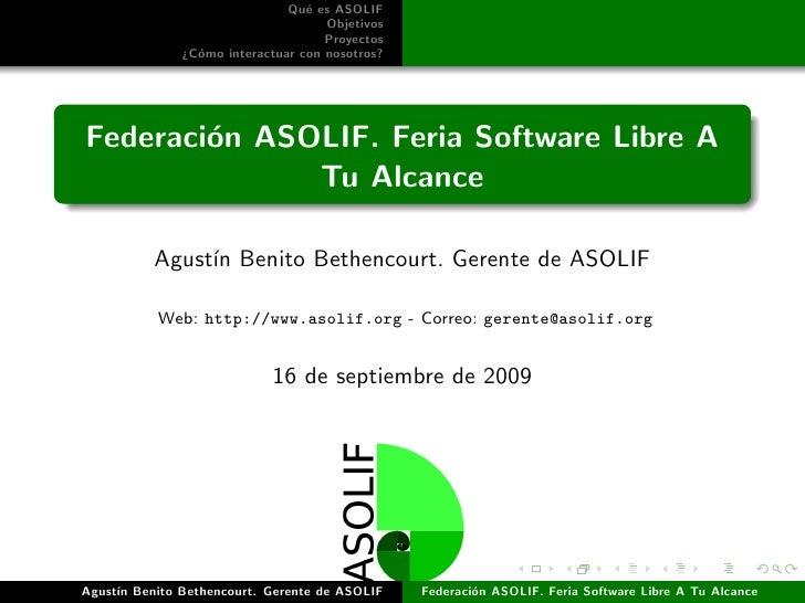 Presentación ASOLIF en Feria Software Libre A Tu Alcance