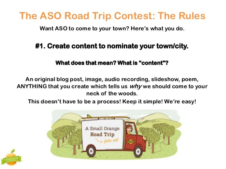ASO Road Trip Contest Rules 8/2012