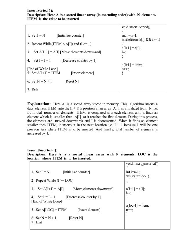 Insert Sorted ( ): Description: Here A is a sorted linear array (in ascending order) with N elements. ITEM is the value to...