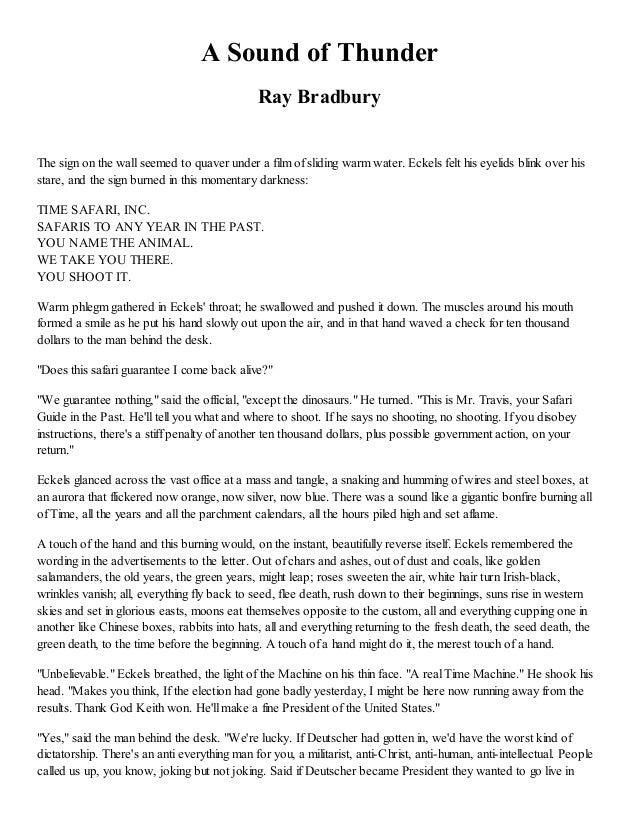 A Sound Of Thunder By Ray Bradbury Essay img-1