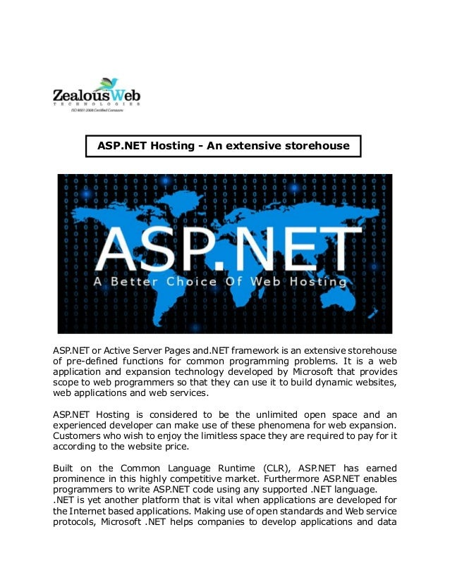 Asp.net hosting   an extensive storehouse