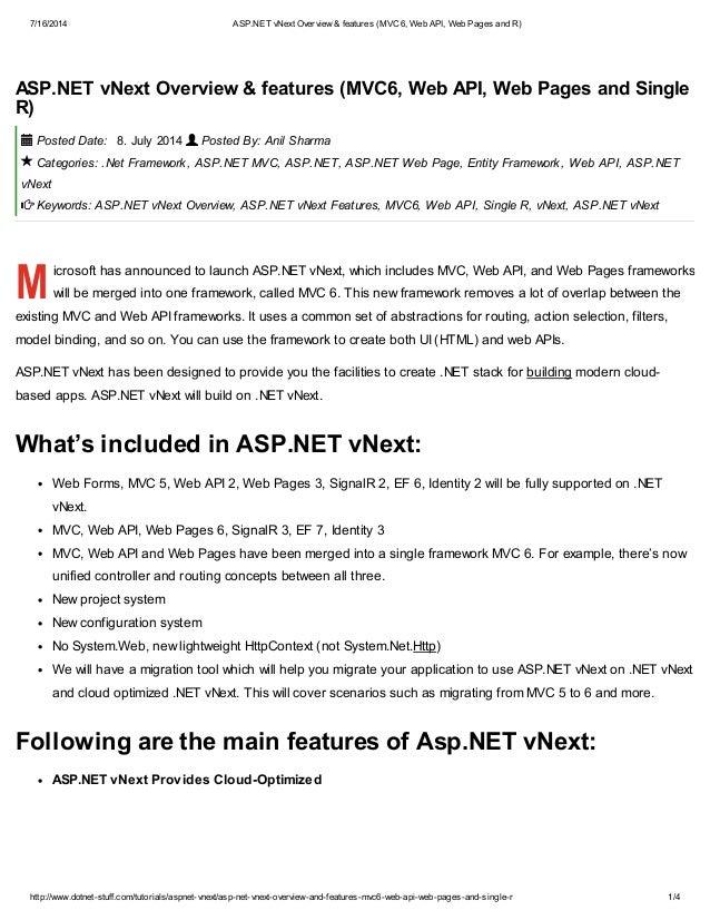 7/16/2014 ASP.NET vNext Overview & features (MVC6, Web API, Web Pages and R) http://www.dotnet-stuff.com/tutorials/aspnet-...