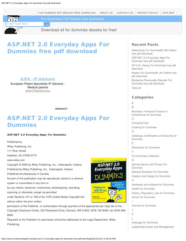 ASP.NET 2.0 Everyday Apps For Dummies free pdf download                                  FOR DUMMIES PDF EBOOKS FREE DOWNL...