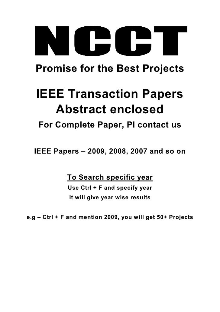 NCCT    Promise for the Best Projects     IEEE Transaction Papers       Abstract enclosed     For Complete Paper, Pl conta...