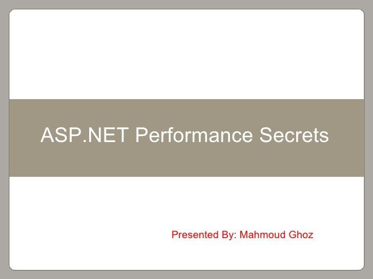 Asp.net performance secrets