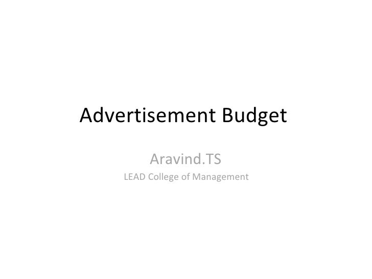 Advertisement Budget         Aravind.TS    LEAD College of Management