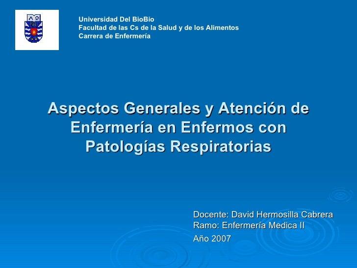 Aspectos Generales y Atención de Enfermería en Enfermos con Patologías Respiratorias Docente: David Hermosilla Cabrera Ram...