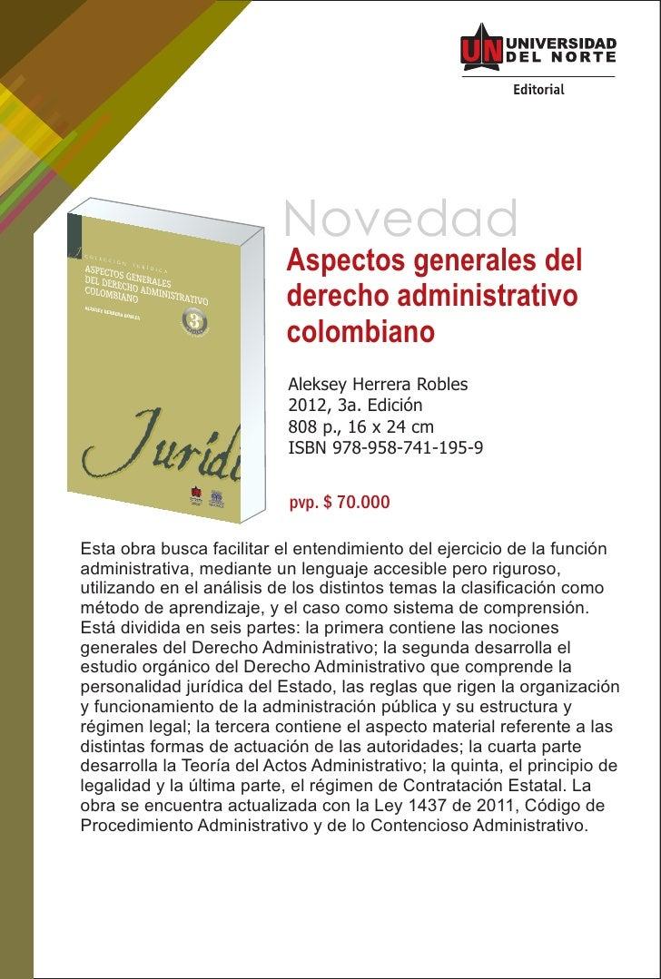 Aspectos generales del derecho administrativo colombiano, 3a. ed