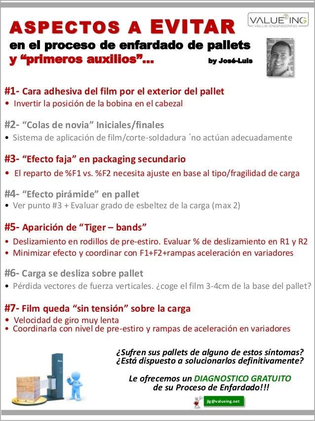 """A S P E C TO S A EVITAR en el proceso de enfardado de pallets y """"primeros auxilios""""…        by José-Luis#1- Cara adhesiva ..."""