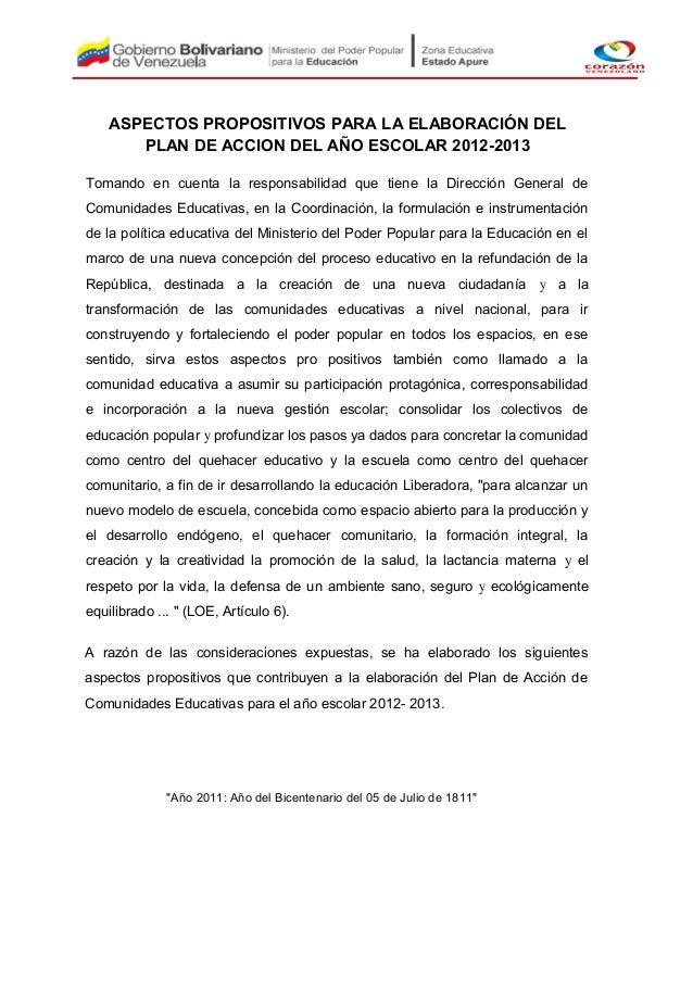 ASPECTOS PROPOSITIVOS PARA LA ELABORACIÓN DEL       PLAN DE ACCION DEL AÑO ESCOLAR 2012-2013Tomando en cuenta la responsab...