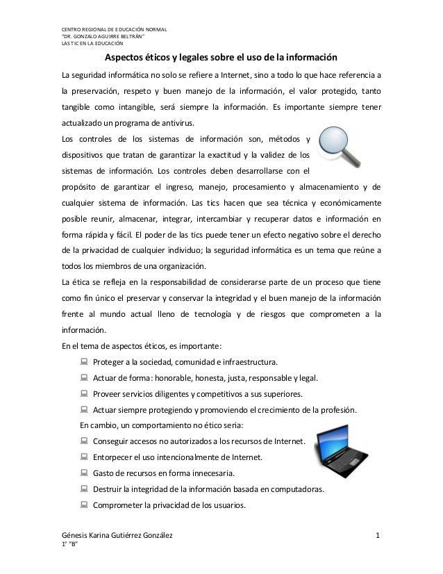 Aspectos éticos y legales sobre el uso de la información