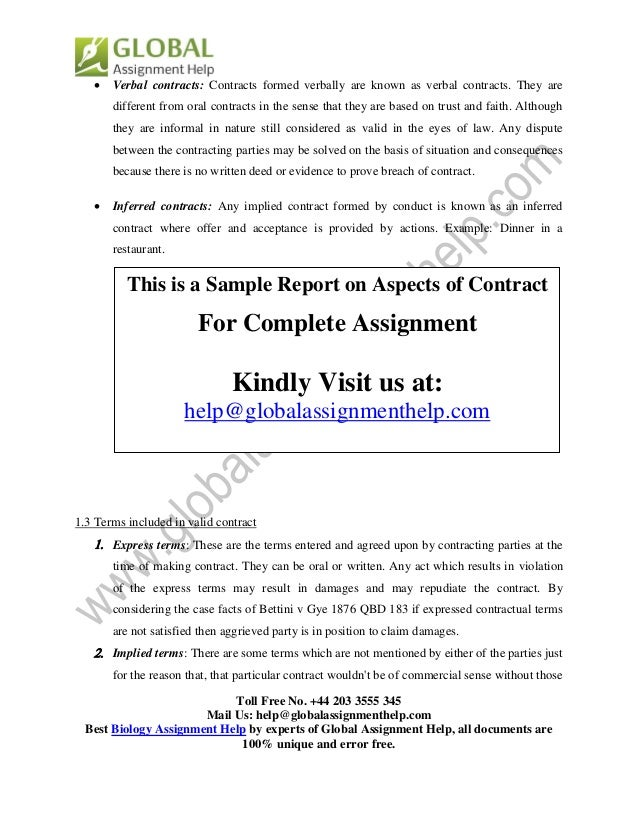 Buy contract law assignment example