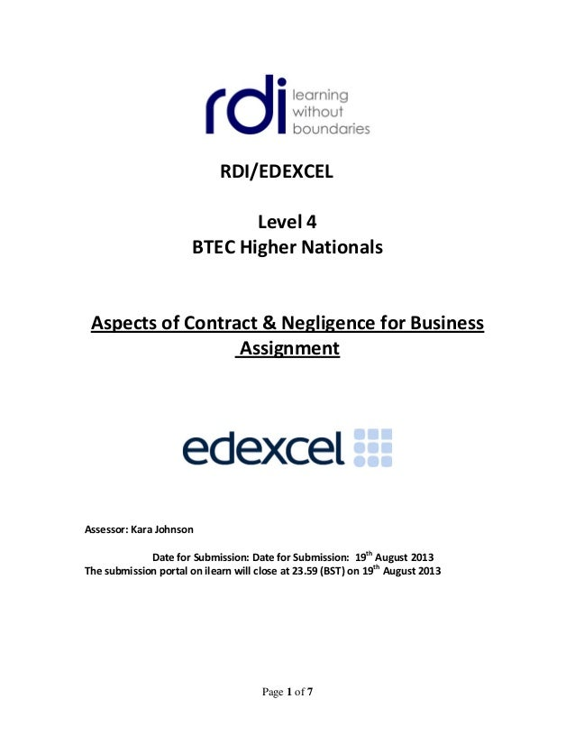 aspects of contract negligence for Unit 5: aspects of contract and negligence for business assignment title: learners name term: 2 cohort: april 2016 intake: april 2016 registrati.
