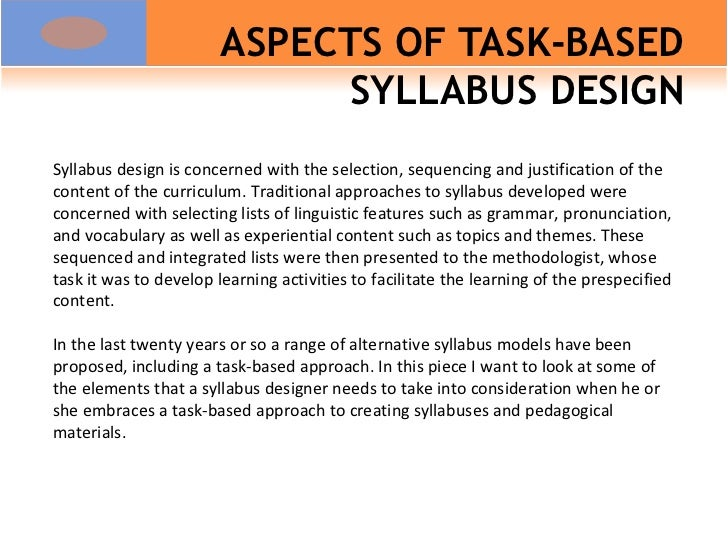 ASPECTS OF TASK-BASED SYLLABUS DESIGN Syllabus design is concerned with the selection, sequencing and justification of the...